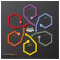 Fusion rotate hexagon and arrows line business infographic design template Royalty Free Stock Image
