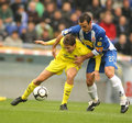 Fuster of Villareal fight with Moises Stock Photography