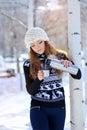 Futerkowego kapeluszu portreta zima kobiety potomstwa Obraz Stock