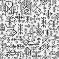 Futhark norse islandic and viking symbol seamless pattern. Magic hand draw symbols as scripted talismans repeatable Royalty Free Stock Photo