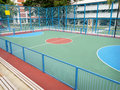 Futsal park in public housing estate enclosed with synthetic lawn Royalty Free Stock Image