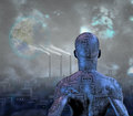 Future android before smog filled city with terraformed moon in sky Stock Images