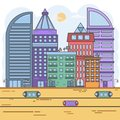 Future city or modern city concept. flat style city line landscape vector illustration