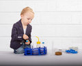 Future engineering child worker white background Royalty Free Stock Photos