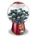 Future gumball machine next time forward progress the word on gumballs dispensed to predict your actions or fate tomrrow or moving Royalty Free Stock Photography
