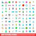 100 future icons set, cartoon style