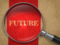 Future magnifying glass concept on old paper with red vertical line background Royalty Free Stock Photography