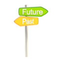 Future and past road sign signpost Stock Photo