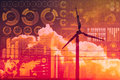 Future of power and technology, wind turbine with business mix media overlay Royalty Free Stock Photo