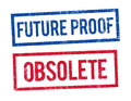 Future proof and Obsolete stamps Royalty Free Stock Photo