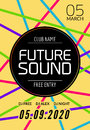 Future sound music party template, dance party flyer, brochure. Night party club creative banner or poster with DJ Royalty Free Stock Photo