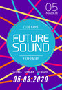 Future sound music party template, dance party flyer, brochure. Night party club creative banner or poster with DJ