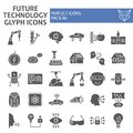 Future technology glyph icon set, innovation symbols collection, vector sketches, logo illustrations, technologies icons Royalty Free Stock Photo