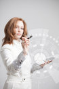 Future technology woman working with futuristic touch button interface interface Stock Images
