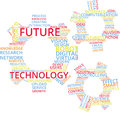 Future Technology Word Cloud Text Illustration in shape of Gear wheels.