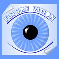 Future vision emblem with blue iris and the pupil on paper with rolled corner, useful as slide for motivation training Royalty Free Stock Photo