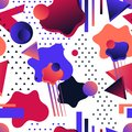 Futuristic abstract seamless pattern in bold neon colors and gradients with 2D and 3D shapes on a white background