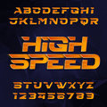 Futuristic alphabet vector font. High speed effect type letters and numbers on a dark polygonal background.