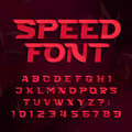Futuristic alphabet vector font. Speed effect type letters and numbers on a abstract background.