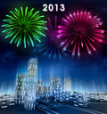 Futuristic business city and 2013 new year celebration Royalty Free Stock Photography