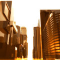 Futuristic  city buildings background Royalty Free Stock Photo
