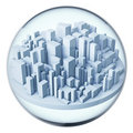 Futuristic city in glass ball Royalty Free Stock Photography