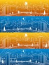 Futuristic City life infrastructure panorama set. Industrial energy illustration. Hydro power plant. River Dam. Big bridge. People Royalty Free Stock Photo