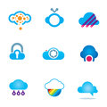Futuristic cloud software technology app for mobile phones logo icons enjoy Stock Photo