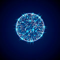 Futuristic cybernetic scheme, vector motherboard blue illustration with neon lights. Circular gleam element with circuit board te Royalty Free Stock Photo