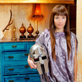 Futuristic fashion woman in retro grunge home Stock Photos