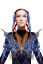 Futuristic girl with blue and orange energy flows Royalty Free Stock Photos