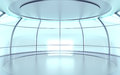 Futuristic hall with glass walls circular and reflective surfaces Stock Photos