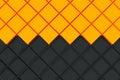 Futuristic industrial background made from black and orange squa