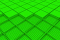 Futuristic industrial background made from green square shapes