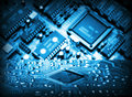 Futuristic integrated circuit the concept of new technologies Stock Image