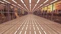 Futuristic interior and scifi city background Stock Photos