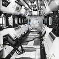 Futuristic metal Sci-Fi Corridor tunnel or ship interior . 3d rendering illustration .