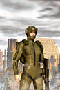 Futuristic military girl Royalty Free Stock Photo