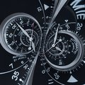 Futuristic modern black silver clock watch abstract fractal surreal double spiral. Watch clock unusual abstract texture pattern Royalty Free Stock Photo