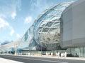 Futuristic modern design mega mall glass and steel. Royalty Free Stock Photo
