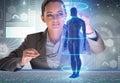 The futuristic remote diagnostics concept with businesswoman