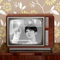 Futuristic retro contrast vintage tv future woman Stock Photography