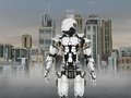 Futuristic robot with city background a standing in front of a science fiction inspired Stock Images