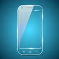 A futuristic smartphone glass transparent on blue background Stock Photo