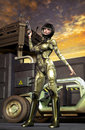 Futuristic soldier girl Royalty Free Stock Photo