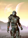 Futuristic soldier and moons Royalty Free Stock Photo