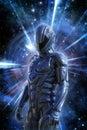 Futuristic soldier and space warp