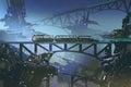 Futuristic train on railway and bridge in abandoned city Royalty Free Stock Photo