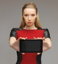 Futuristic woman with tablet pc bright picture of Stock Photo