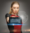 Futuristic woman with tablet pc bright picture of Stock Photography